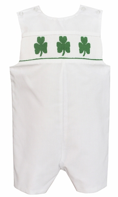Baby / Toddler Boys White Poplin Smocked Green St. Patrick's Day Shamrocks Jon Jon - Exclusively at The Best Dressed Child