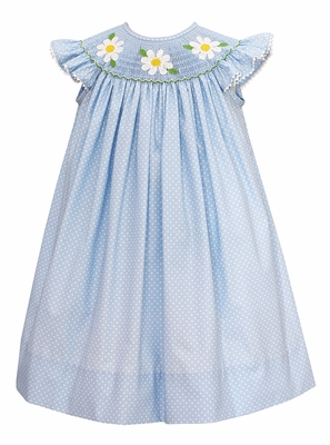 Baby / Toddler Girls Blue / White Dots Smocked Daisy Dress - Exclusively at The Best Dressed Child