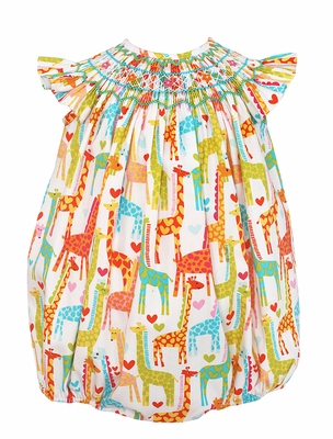 Baby / Toddler Girls Fun & Colorful Giraffe Print Smocked Bubble - Exclusively at The Best Dressed Child