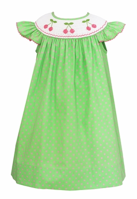 Baby / Toddler Girls Green / Pink Dots Smocked Pink Cherries Dress - Exclusively at The Best Dressed Child