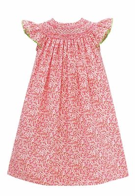 Baby Girls Hot Pink Ditsy Floral Smocked Bishop Dress - Exclusively at The Best Dressed Child
