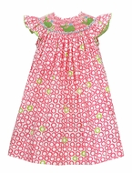 Baby / Toddler Girls Pink Circles Smocked Green Whales Dress - Exclusively at The Best Dressed Child