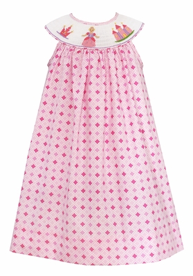 Baby / Toddler Girls Pink Diamond Print Smocked Princess Dress - Exclusively at The Best Dressed Child