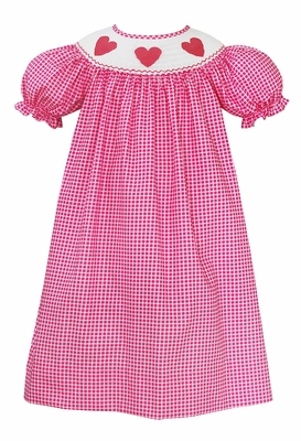 Baby / Toddler Girls Hot Pink Grid Smocked Valentine's Hearts Bishop Dress - Exclusively at The Best Dressed Child