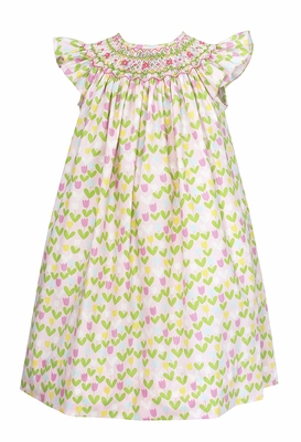 Baby / Toddler Girls Pink / Green / Yellow Tulips Print Smocked Bishop Dress - Exclusively at The Best Dressed Child