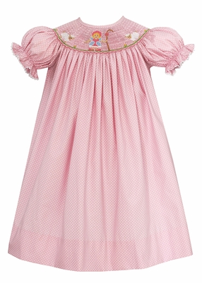 Baby / Toddler Girls Pink / White Dots Smocked Little Bo Peep Bishop Dress - Exclusively at The Best Dressed Child