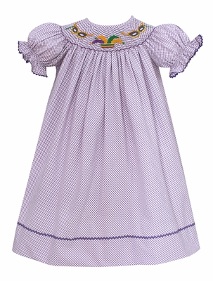 Baby Girls Purple Diagonal Gingham Smocked Mardi Gras Dress - Exclusively at The Best Dressed Child