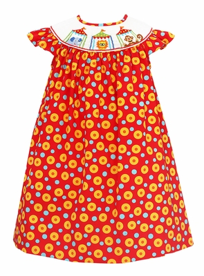 Baby / Toddler Girls Red Circles Print Smocked Circus Animals Dress - Exclusively at The Best Dressed Child