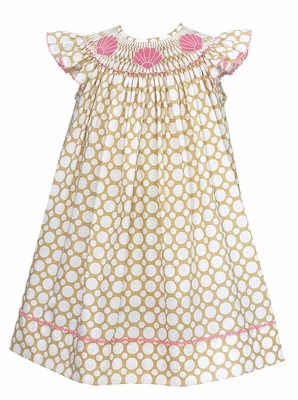 Baby / Toddler Girls Tan / White Dots Smocked Pink Sea Shells Dress - Exclusively at The Best Dressed Child