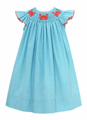Baby / Toddler Girls Turquoise Check Smocked Crabs Dress - Exclusively at The Best Dressed Child