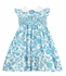 Baby / Toddler Girls Turquoise Damask Smocked Dress with Collar / Flutter Sleeves - Exclusively at The Best Dressed Child