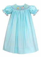 Baby / Toddler Girls Turquoise / White Dots Smocked Cow Jumper Over the Moon Bishop Dress - Exclusively at The Best Dressed Child