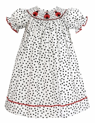 Baby / Toddler Girls White / Black Dots Smocked Ladybugs Dress - Exclusively at The Best Dressed Child