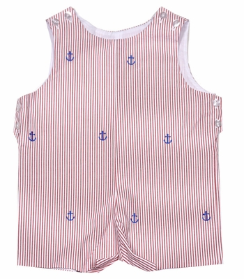 Betti Terrell Baby / Toddler Boys Anchor Embroidered Red Seersucker Shortall