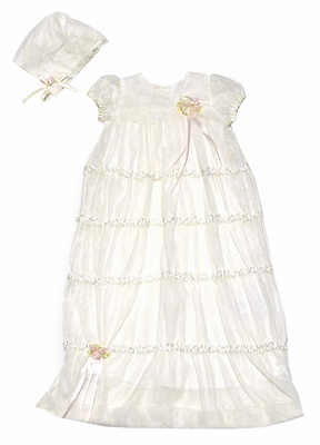 Biscotti Baby Infant Girls IVORY Christening Gown with Bonnet