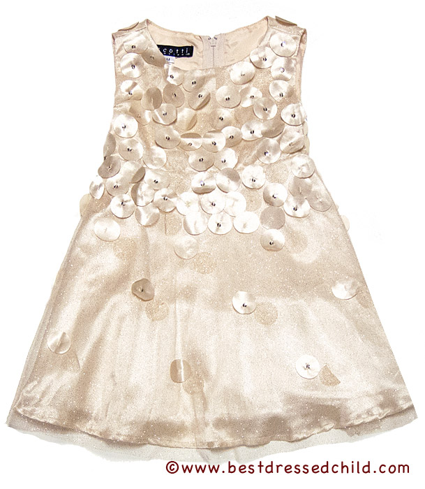Biscotti Baby / Toddler Girls Falling for Dots Holiday Dress - Gold