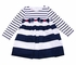 Biscotti Baby / Toddler Girls Navy Blue / White Nautical Stripes Dress with Bows