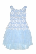Biscotti Girls Blue Pick a Posy Sleeveless Lace and Tulle Dress