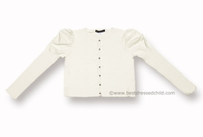Biscotti Girls Dressy Puff Sleeve Cardigan Sweater with Rhinestone Buttons - IVORY