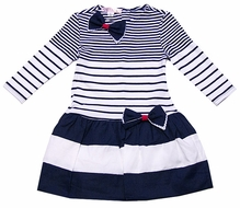 Biscotti Girls Navy Blue Nautical Striped Dress - Long Sleeves