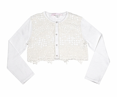 Biscotti Girls Fairytale Romance Vintage Ivory Lace Cardigan Sweater