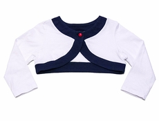 Biscotti Girls White Nautical Shrug with Navy Blue Trim