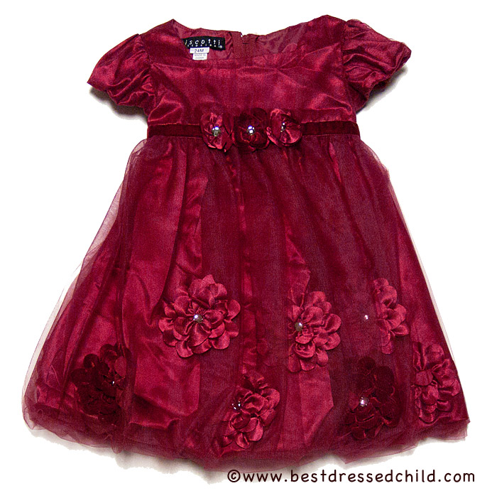 Biscotti infant toddler girls pocket of posies red