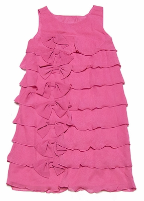Blush by Us Angels Girls Petunia Pink Sleeveless Ruffles & Bows Dress