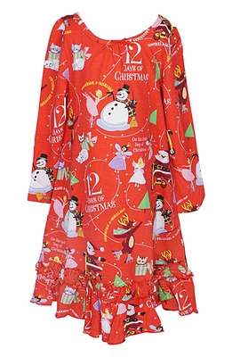 Books to Bed Girls Red Twelve Days of Christmas Nightgown