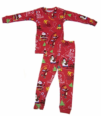 Books to Bed Pajamas with or without Good Night Storybook - Red Twelve Days of Christmas - Boy