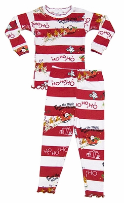 Books to Bed Red / White Striped Twas the Night Before Christmas Pajamas - With or Without Book - Girls