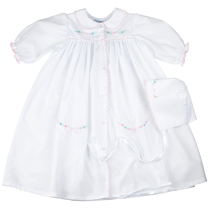 Carriage Boutique Newborn Baby Girls White Day Gown with Bonnet