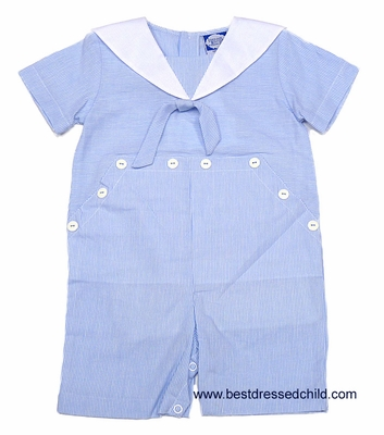 Carriage Boutiques Infant Baby Boys Light Blue Pinstripe Sailor Suit Outfit