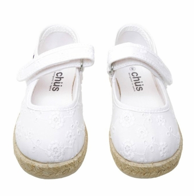 Chus Shoes - Girls Addison Velcro Mary Jane Espadrille - White Eyelet