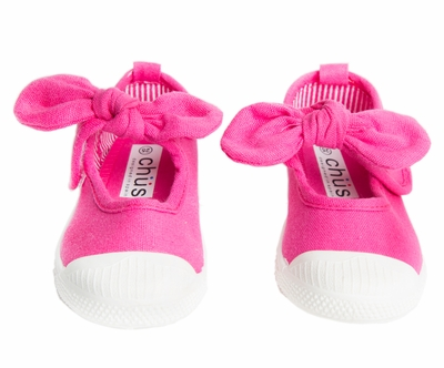 Chus Shoes - Girls Athena Velcro Mary Jane with Bow - Fuchsia Pink