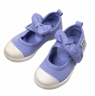 Chus Shoes - Girls Athena Velcro Mary Jane with Bow - Periwinkle Sky