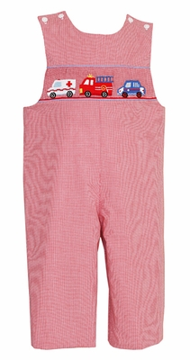 Claire & Charlie Baby / Toddler Boys Red Check Smocked Emergency Rescue Vehicles Longall