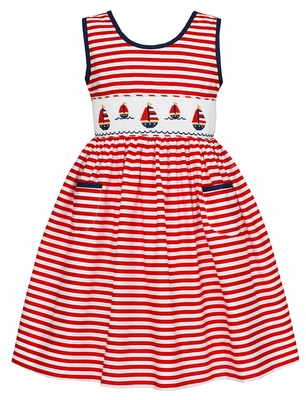 Claire & Charlie Girls Red Striped Smocked Sailboats Dress - Pockets & Open Back
