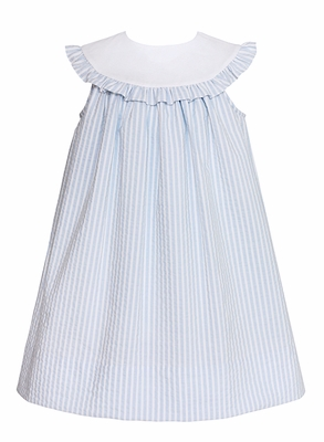 Claire & Charie Girls Sleeveless Blue Striped Seersucker Dress with Round Ruffle Collar