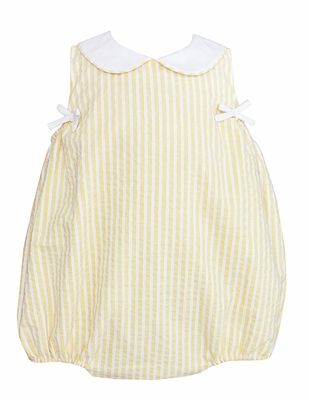 Claire & Charie Infant Girls Yellow Striped Bubble with Collar and Side Bows