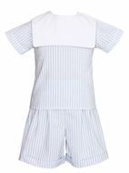 Claire & Charie Toddler Boys Blue Striped Seersucker Square Collar Shorts Set