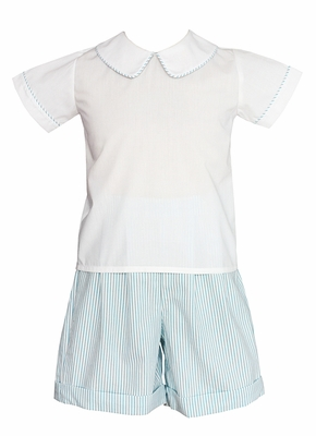 Claire & Charie Toddler Boys Turquoise Stripe Seersucker Shorts Set