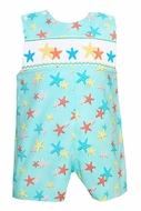 Claire & Charlie Baby Boys Aqua Starfish Print Smocked Star Fish Shortall