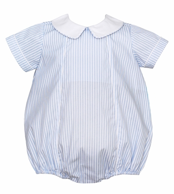 Claire & Charlie Baby Boys Blue Striped Bubble with Collar