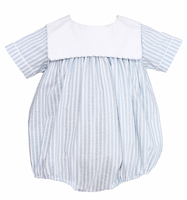 Claire & Charlie Baby Boys Blue Striped Seersucker Bubble with Collar
