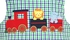 Claire & Charlie Baby Boys Green / Blue Plaid Applique Animal Train Longall