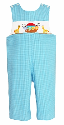 bf617f45bafd Claire   Charlie Baby Boys Turquoise Check Smocked Noah s Ark Animals  Longall