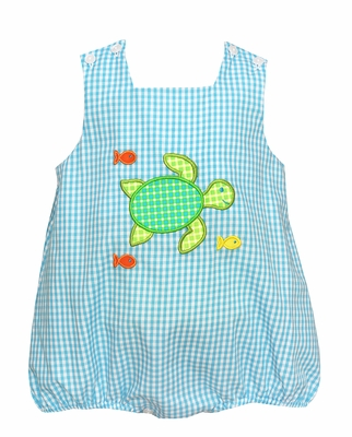 Claire & Charlie Baby Boys Turquoise Check Turtle Sun Bubble
