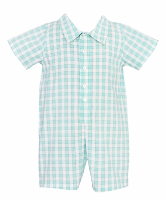 Claire & Charlie Baby Boys Turquoise Plaid Romper with Collar
