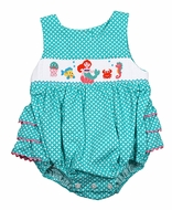 Claire & Charlie Baby Girls Aqua Dots Smocked Mermaid Ruffle Bubble
